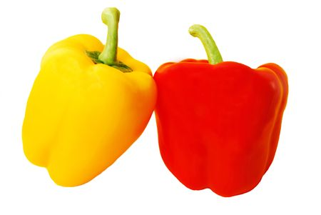 Red and yellow pepper isolated on white background