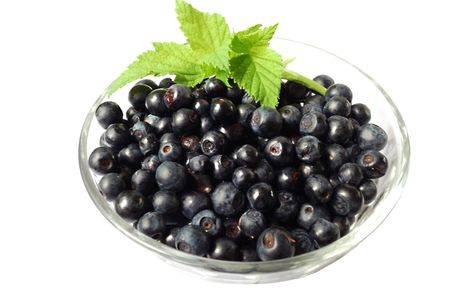 Bilberries in glass bowl isolated over white