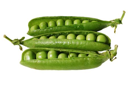 Open pea pods isolated on white background