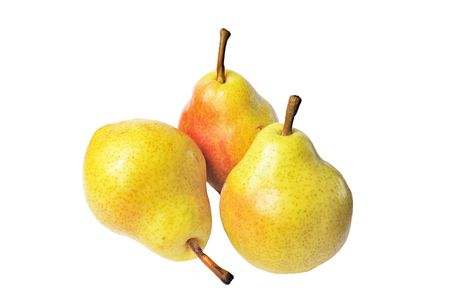 Three yellow pears isolated on white background Stock Photo
