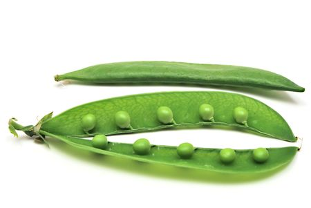 Young open pea pods on white background