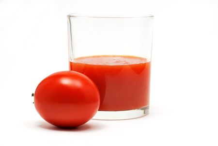 Tomato juice with tomato isolated on white
