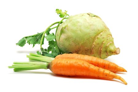 Carrots and kohlrabi isolated on white background