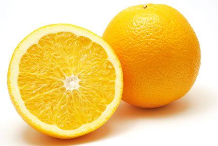 Fresh juicy oranges isolated on white background