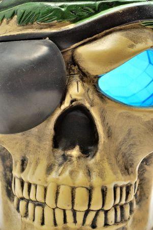 Pirate skull with bondage close up