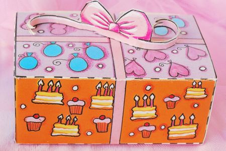 Gift  box on pink background