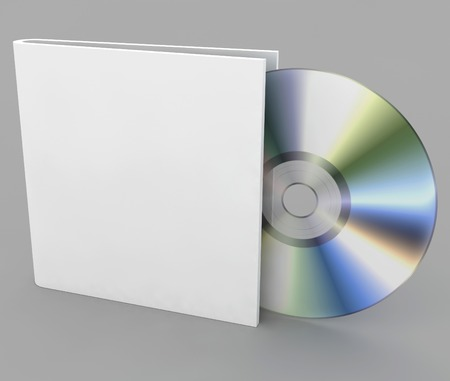 dvd case: Blank compact CD disk on a gray background Stock Photo