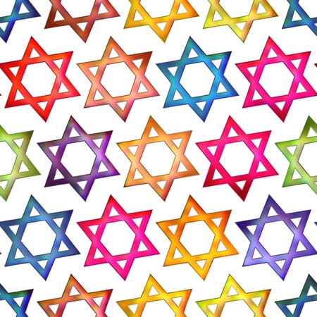 jewish star: Seamless texture colorful symbol Jewish star backgrounds