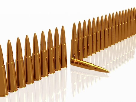 9mm ammo: row Bullets 9mm ammo ammunition  horizontal copper