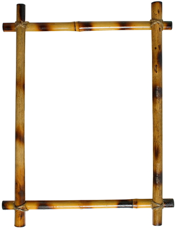 bamboo frame: bamboo frame isolated on white background. sticks tied with rope Stock Photo