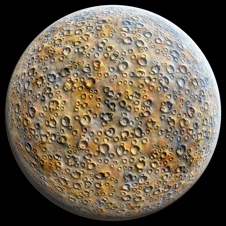 craters: Planet with craters on a black background 3D illustration Stock Photo