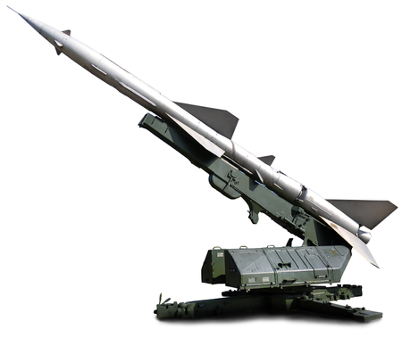 Military equipment. Launch a setup aimed at the sky defense missile 版權商用圖片