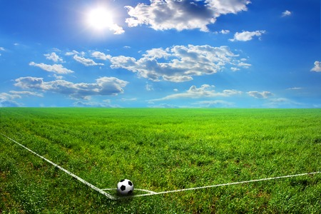 futbol: black and white soccer ball on green grass field