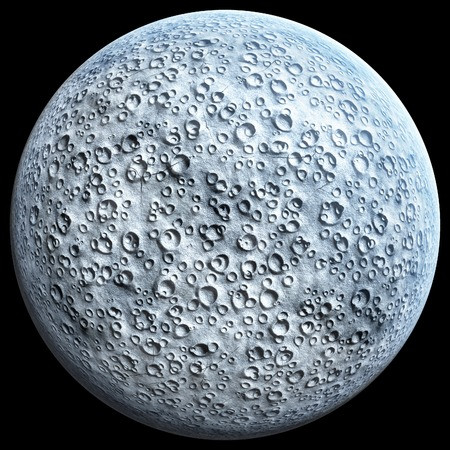moonshine: Full Moon with craters on a black background 3D illustration