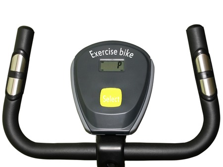 hometrainer: exercise bike handles and indicator isolated on white background