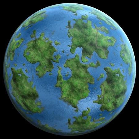 green planet similar to earth on a black background 3D illustration