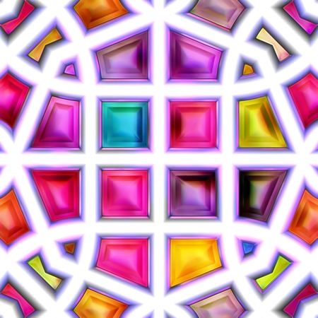 isolation: Seamless texture of abstract bright shiny colorful geometric shapes. Isolation on a white background 3D illustration