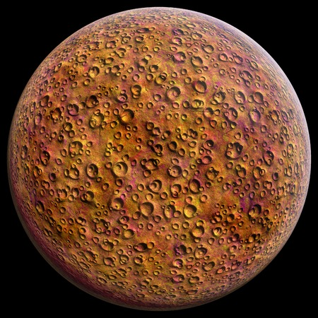 uranus: Planet with craters on a black background 3D illustration Stock Photo