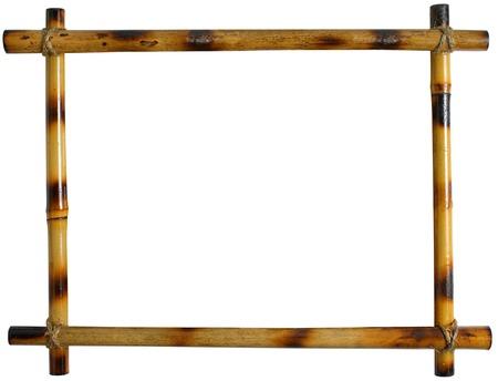 bamboe frame op een witte achtergrond. sticks vastgebonden met touw