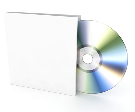 compact disk: Blank compact disk on a white background