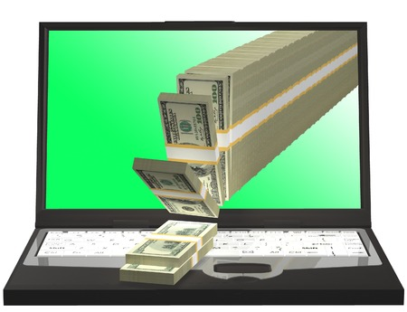 cash flows: Money pouring out from a notebook computer 3D illustration