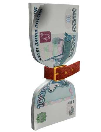 constricted: pack of 1000 ruble banknotes tightly constricted belt 3D illustration 3D rendering Stock Photo