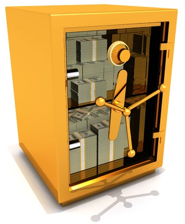 safe with money: Safe money with transparent door 3D illustration Stock Photo