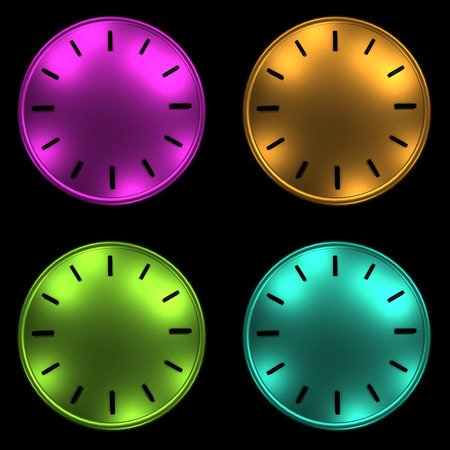 timeless: 4 clock without arrows background 3D illustration.