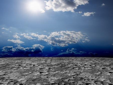 moody sky: Orrore pianeta deserto illustrazione paesaggio Terreno accidentato 3D