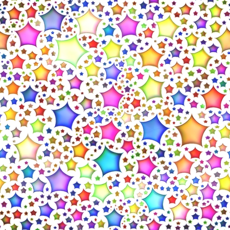 isolation: Seamless texture of abstract bright shiny colorful stars, Isolation on a white background