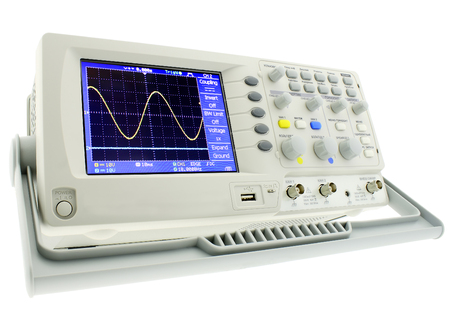 Digital laboratory oscillograph isolated on white background.