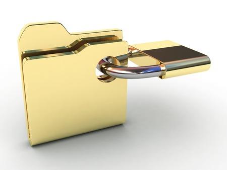 Computer icon for secure folder 3D illustration.