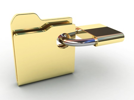 reveal: Computer icon for secure folder 3D illustration.