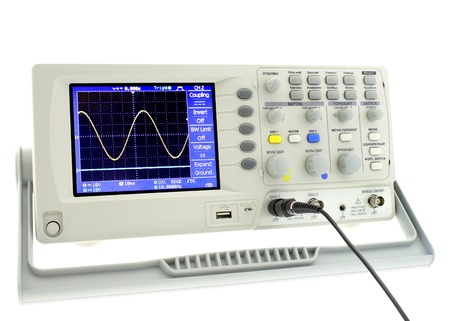 oscillograph: Digital oscillograph sine isolated on white background.