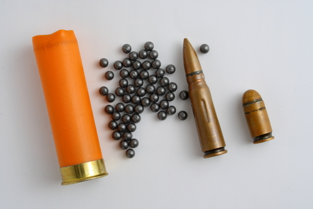 sleeve: sleeve and shot hunting ammunition on a gray background