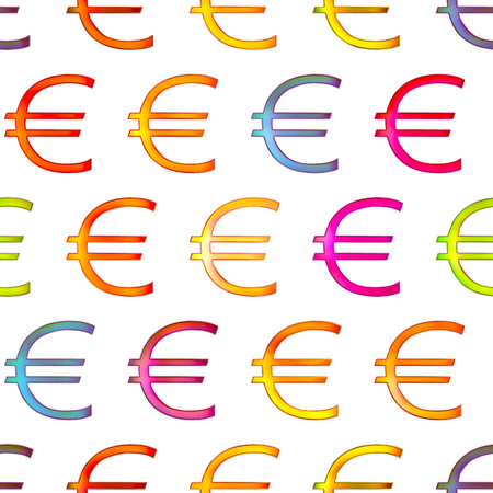 Seamless texture of bright shiny colorful euro sign, Isolation on a white background