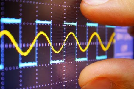 オシロ スコープ プローブ アーム正弦信号の波