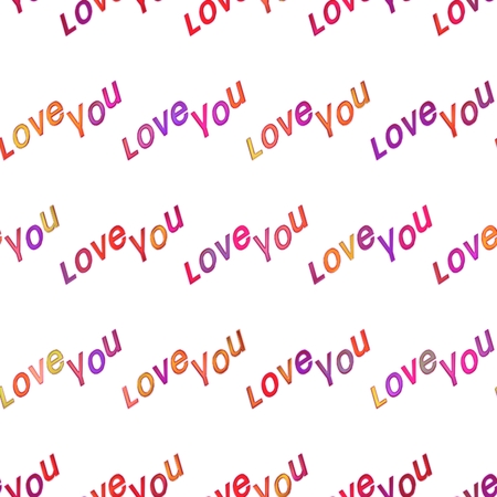 aciculum: Seamless colorful love texture, abstract bright shiny colorful text