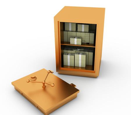 money packs: crack a safe with money. the door on the floor. Safe open it dollars packs