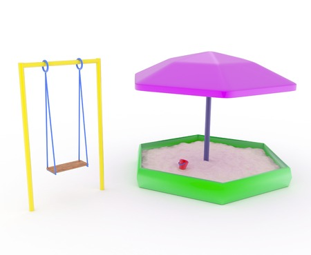 swings for children and childrens sandboxes on a white background. Stock Photo
