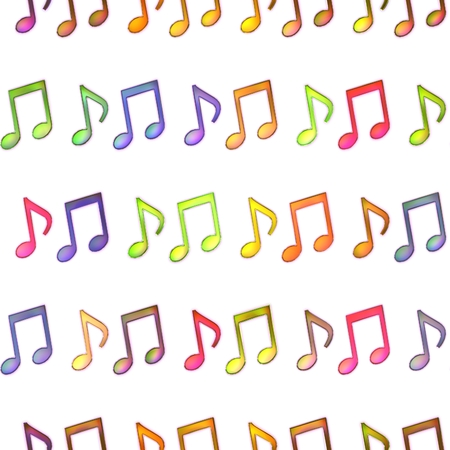 musical score: Seamless texture multicolored notes bright shiny colorful geometric shapes