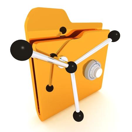 Computer icon for secure folder safe 3D illustration