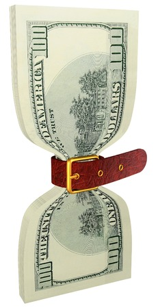 gold buckle: pack of 100 dollars banknotes tightly constricted belt Stock Photo