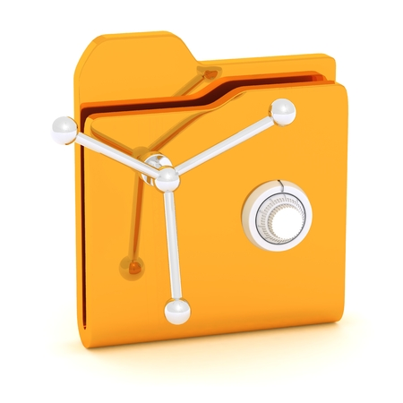 Computer icon for secure folder safe 3D illustration