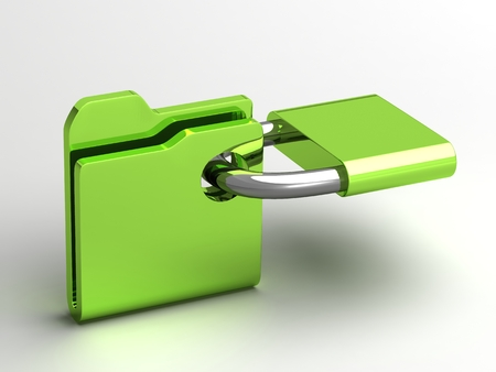 Computer icon for secure folder 3D illustration Stock Photo