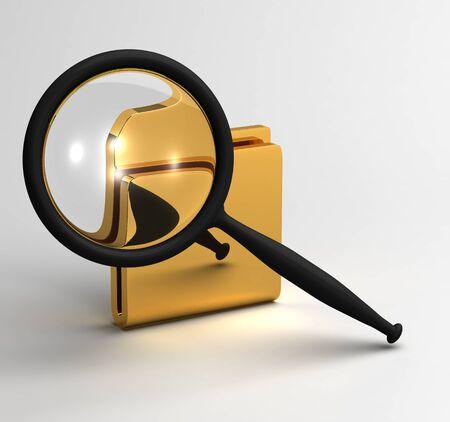 Magnifier enlarges the folder. Computer file search symbol Zdjęcie Seryjne