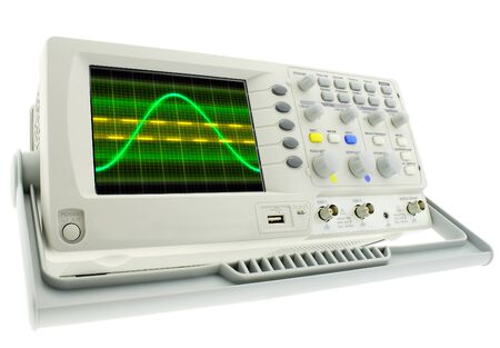 Digital oscillograph isolated on white background