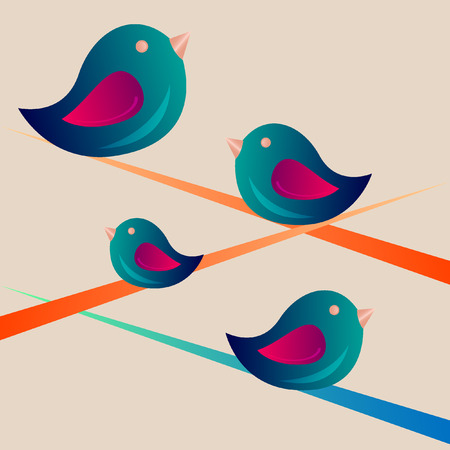 Colorful birds sitting on a branch Vector