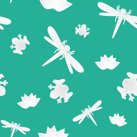 Seamless pattern with frog, lotus and butterfly Vector