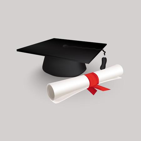 licenciatura: Negro del casquillo de la graduación con Grado Vectores